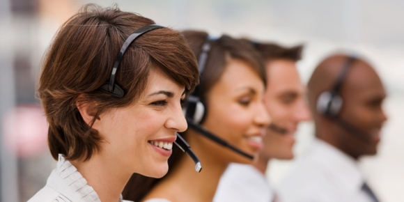 A happy call center agent
